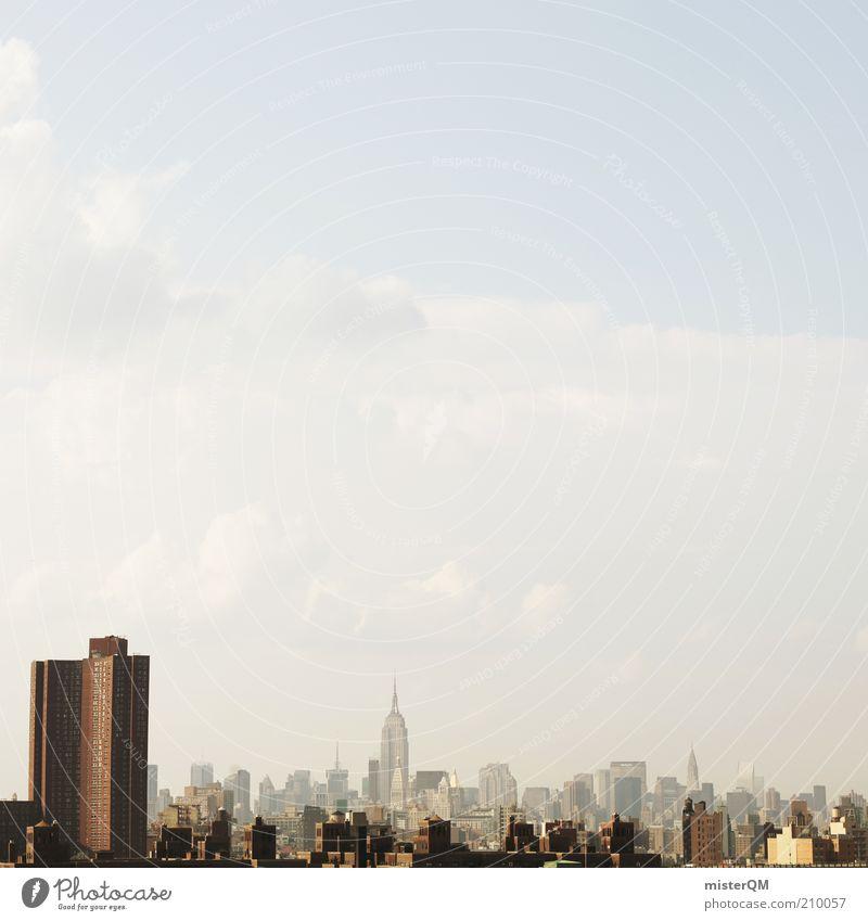 Metropole. Haus ästhetisch Einsamkeit einzigartig Smog Skyline New York City USA Stadt viele Hochhaus Chrysler Building herausragen himmelwärts Himmel