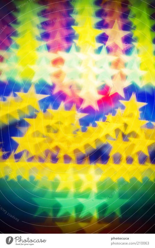 Sterne viele Stern (Symbol) mehrfarbig Lichterkette Beleuchtung abstrakt Hintergrundbild Zacken schön Lampe Leuchtreklame leuchten