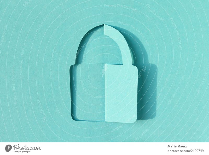 Vorhängeschloss Papierschnitt Design modern Kommunizieren Telekommunikation einzigartig bedrohlich Grafik u. Illustration Schutz Sicherheit festhalten
