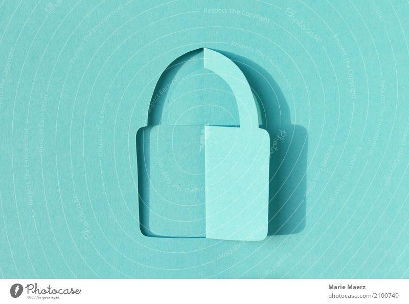 Vorhängeschloss Papierschnitt Design Telekommunikation Informationstechnologie Internet Schloss festhalten Kommunizieren einzigartig modern türkis Vertrauen