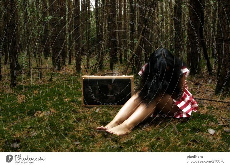 Ich kann nicht mehr!!! feminin Junge Frau Jugendliche Erwachsene 1 Mensch 18-30 Jahre Natur Sommer Baum Gras Moos Wald Menschenleer Rock Koffer schwarzhaarig