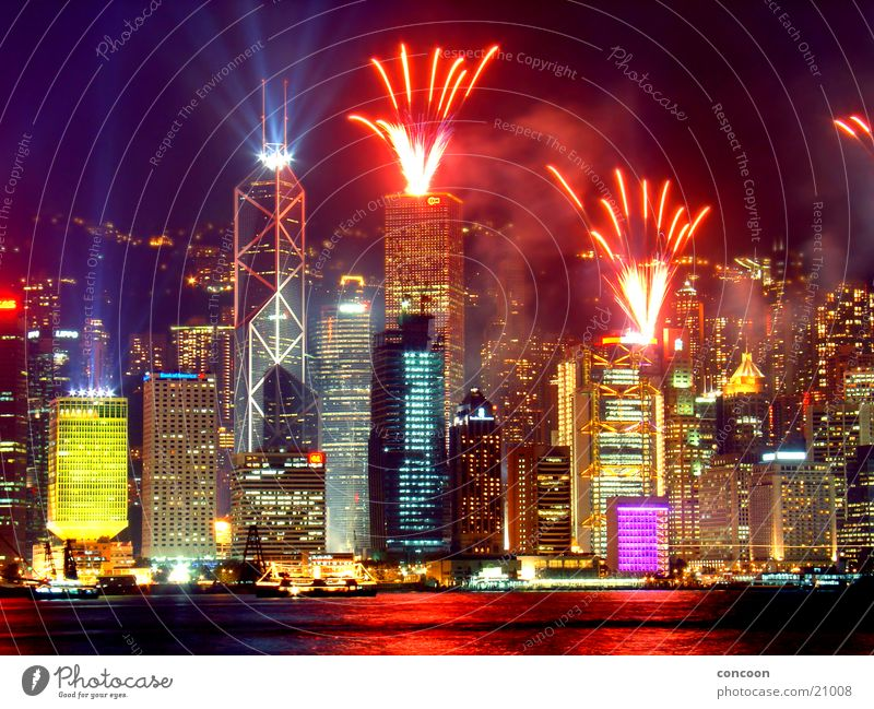 The Lights of Hong Kong II Stadt Farbe glänzend Hochhaus Energiewirtschaft mehrfarbig China Feuerwerk Skyline Nacht Asien Kalifornien Laser Hongkong gewaltig Los Angeles