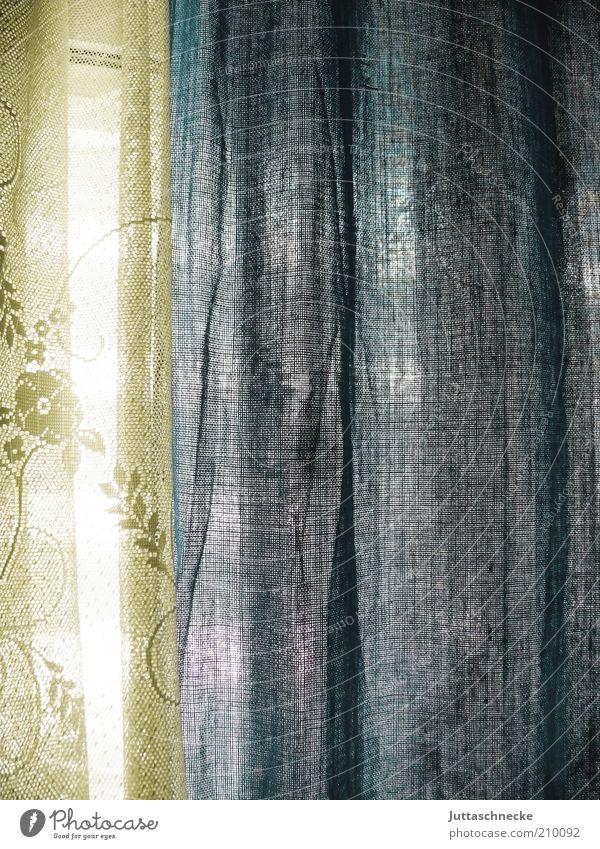 weiß blau Innenarchitektur Dekoration & Verzierung Vorhang Fensterscheibe hängen Häusliches Leben Durchblick durchscheinend durchsichtig Stoff Baumwolle