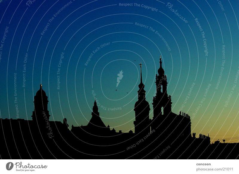 Silhouette Dresden Europa Blauer Himmel Sachsen Hofkirche Brühlsche Terrasse
