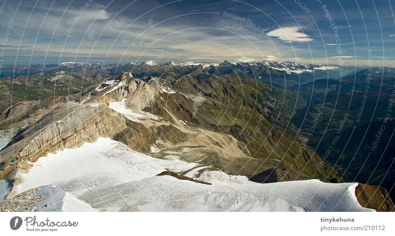 Brunnegghorn Freiheit Sommer Berge u. Gebirge Natur Landschaft Horizont Schönes Wetter Schnee Alpen Schneebedeckte Gipfel Gletscher Ferien & Urlaub & Reisen