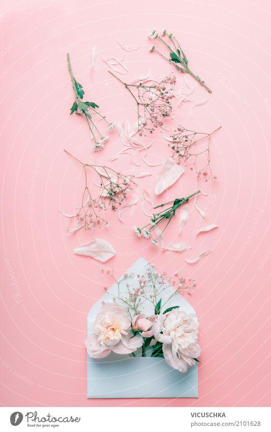Geöffnete Brief Umschlag mit Pastellblumen und Blütenblättern Lifestyle Stil Design Feste & Feiern Valentinstag Muttertag Hochzeit Geburtstag Natur Pflanze