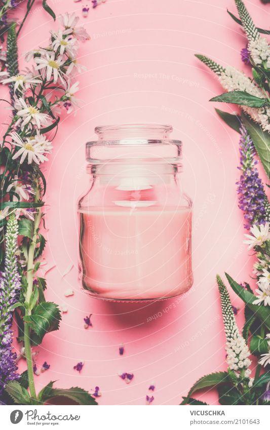 Kosmetikcreme mit Blumen und Kräutern Natur Pflanze schön Lifestyle Gesundheit Stil rosa Design Glas Kräuter & Gewürze Wellness Rose Körperpflege Duft