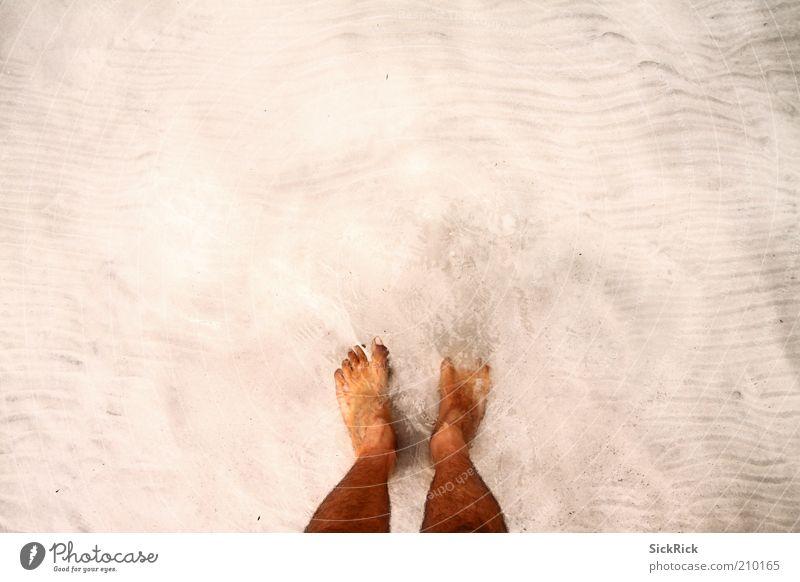 White paradise Mensch Wasser Meer Sommer Strand Ferien & Urlaub & Reisen Fuß Sand Beine Tourismus stehen Schwimmen & Baden Barfuß Bildausschnitt standhaft