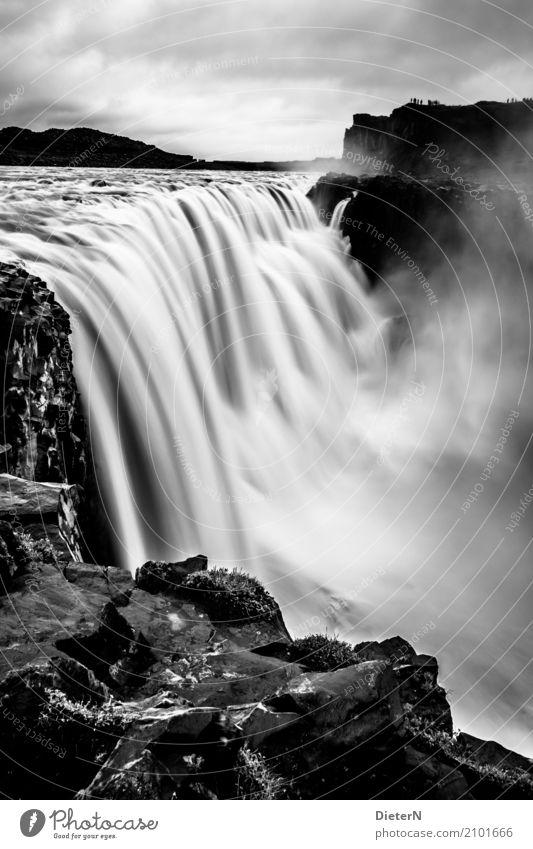 Dettifoss Natur Landschaft Urelemente Wasser Himmel Wolken Wetter schlechtes Wetter Felsen Wellen Flussufer Wasserfall dettifoss grau schwarz weiß Island