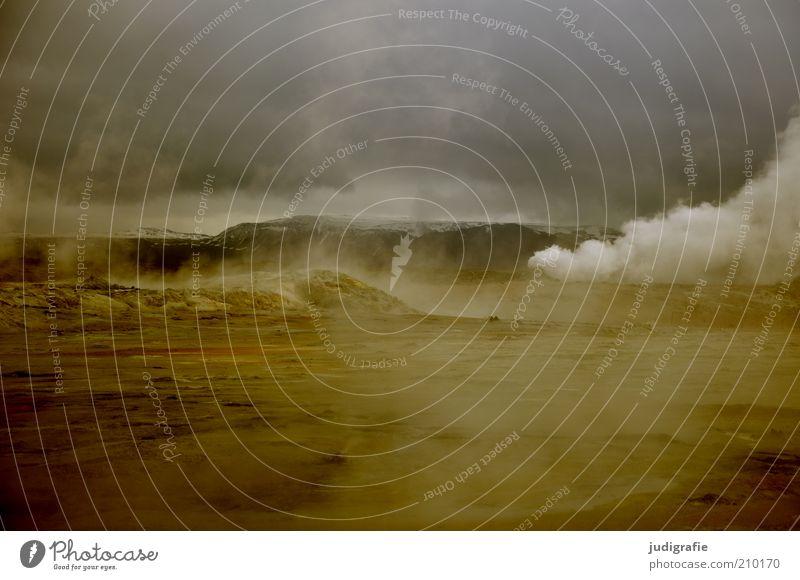 Island Natur Himmel Wolken Einsamkeit dunkel Wärme Landschaft Stimmung Erde Umwelt Erde bedrohlich Klima einzigartig wild fantastisch