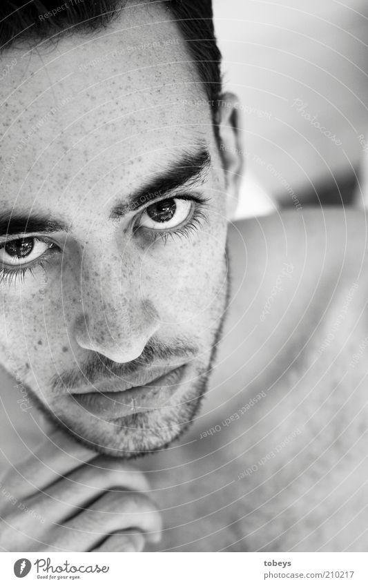 Blickkontakt Mann Jugendliche schön ruhig Erwachsene Kraft maskulin Coolness Macht Konzentration Kontakt Mut 18-30 Jahre Kontrolle Interesse Sommersprossen