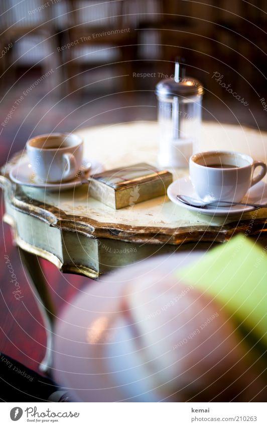 2 x Kaffee, 1 x Ciabatta Lebensmittel Ernährung Getränk Heißgetränk Teller Tasse Löffel Lifestyle Reichtum elegant Stil harmonisch Wohlgefühl Zufriedenheit