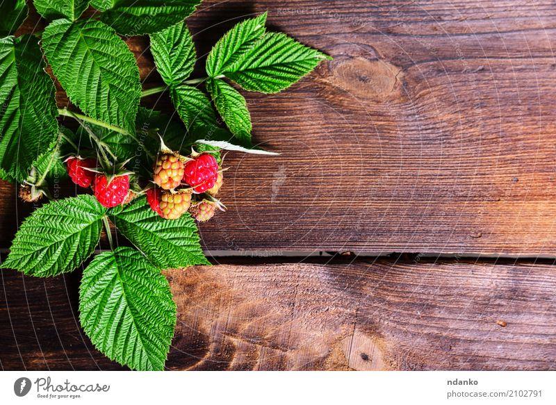 Zweig der Himbeere Frucht Dessert Vegetarische Ernährung Diät Sommer Garten Tisch Natur Holz frisch lecker natürlich braun gelb grün rot reif Beeren nützlich
