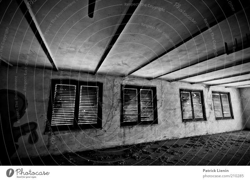 abandoned room Menschenleer Industrieanlage Fabrik Bauwerk Gebäude Architektur Mauer Wand Fenster alt dreckig historisch kaputt Stimmung Schwarzweißfoto