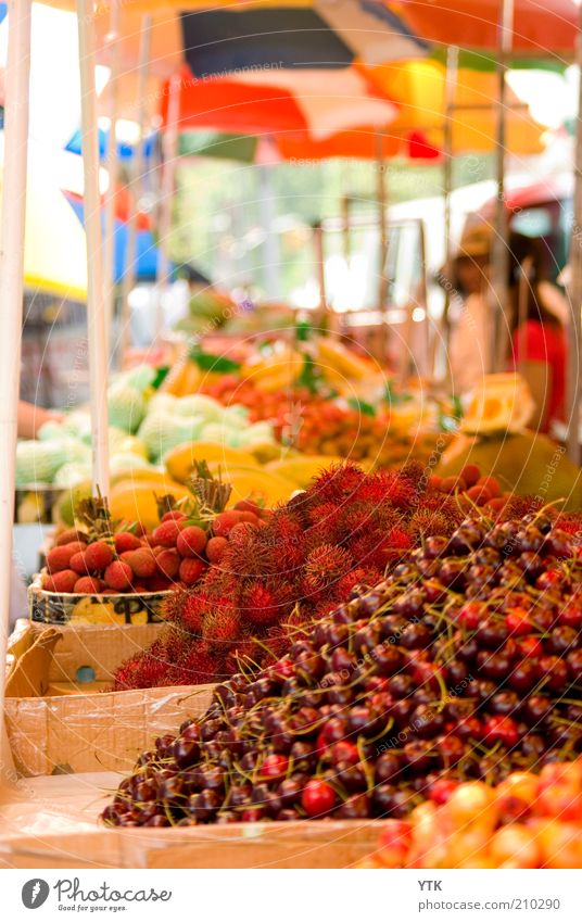 Chinese Fruit Market II Pflanze Nutzpflanze exotisch Duft rot Farbe Frucht Kirsche stachelig Schirm Unschärfe Buden u. Stände fruchtig frisch Markt Vielfältig