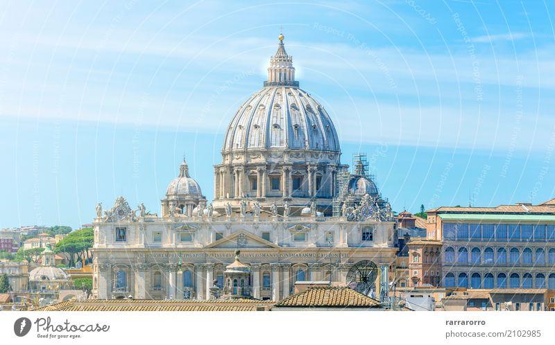 Vatikan und Basilika von St. Peter in Rom Himmel Ferien & Urlaub & Reisen alt Stadt schön weiß Religion & Glaube Architektur Gebäude Tourismus Kirche Aussicht