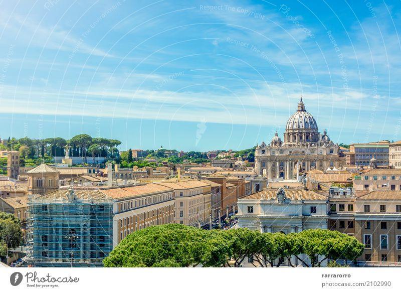 Vatikan und Basilika von St. Peter von Castel Sant'Angelo gesehen schön Ferien & Urlaub & Reisen Tourismus Himmel Stadt Kirche Brücke Gebäude Architektur