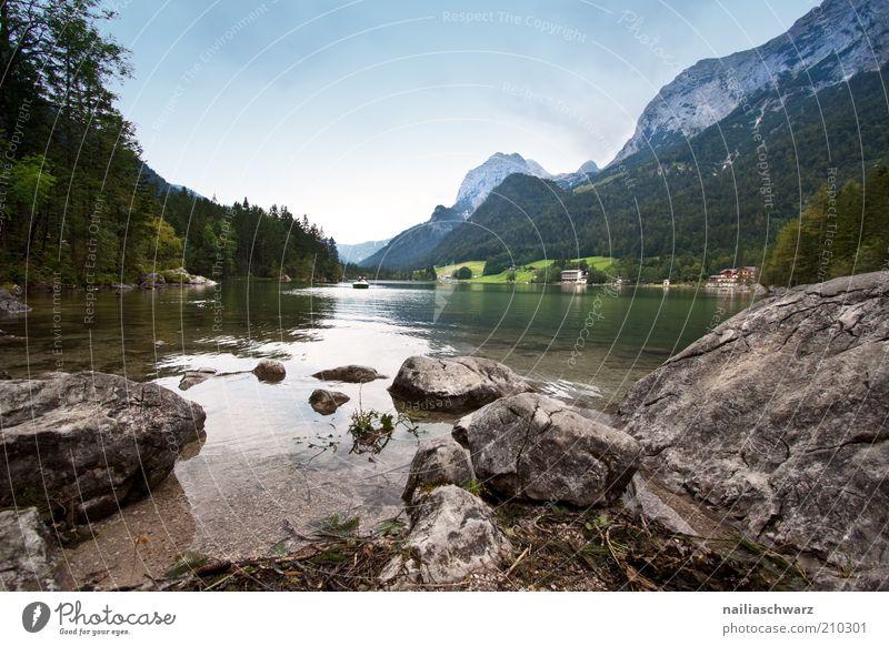 Hintersee Ferien & Urlaub & Reisen Tourismus Sommer Berge u. Gebirge Umwelt Natur Landschaft Wasser Himmel Schönes Wetter Alpen Seeufer Ramsau bei Berchtesgaden