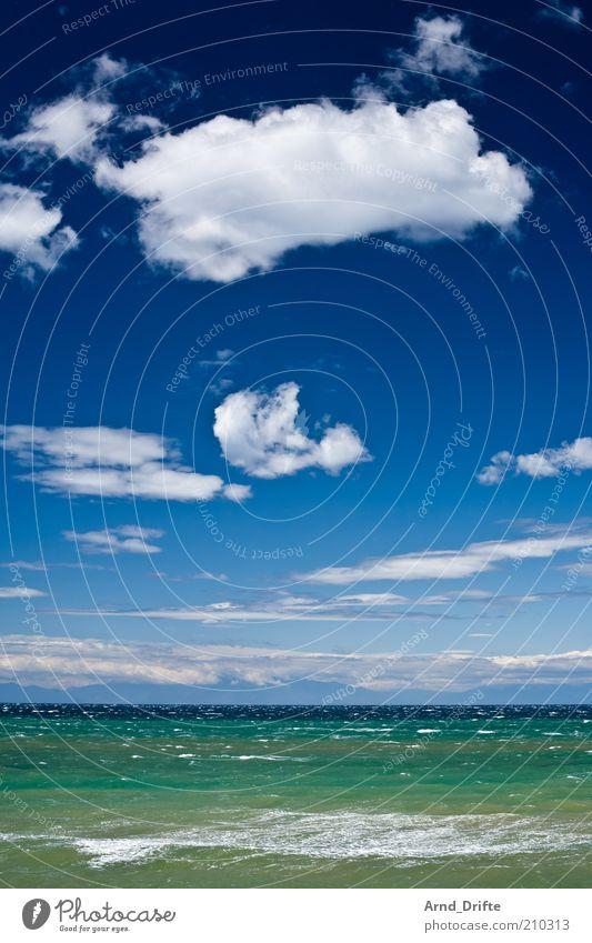 Meer II Himmel grün blau Sommer Wolken Erholung Glück Küste Wellen Wind Horizont Reisefotografie Kitsch Griechenland Wasser