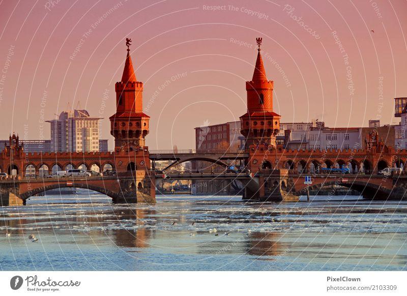 Berlin Landschaft Winter Eis Frost Flussufer Stadt Hauptstadt Binnenschifffahrt Bootsfahrt Ferien & Urlaub & Reisen Blick schön violett orange kalt Tourismus