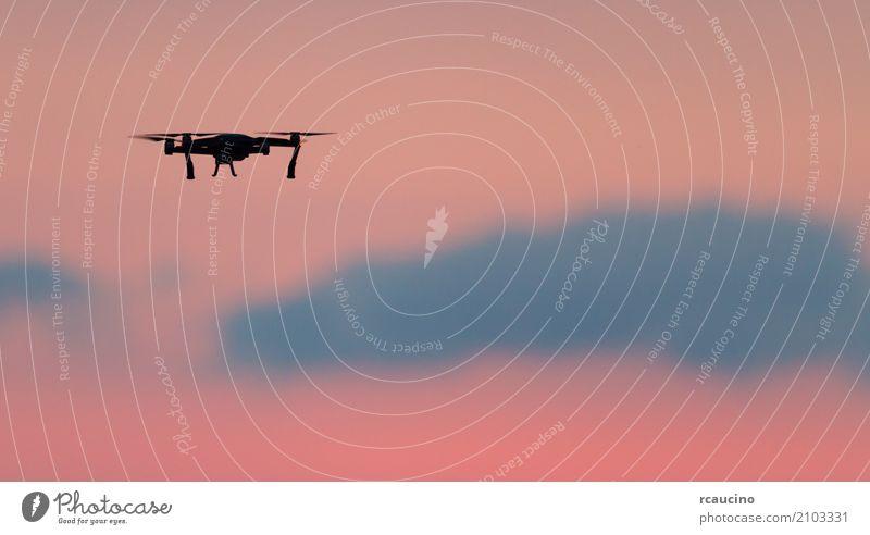 Himmel Natur Sommer Farbe Sonne Landschaft Meer rot Wolken fliegen rosa Textfreiraum Technik & Technologie Aussicht Jahreszeiten Entwurf