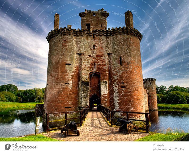 Caeverlock Castle Himmel alt Wasser blau Baum Sommer Wand Landschaft Architektur Gras Stein Gebäude Mauer Park Fassade