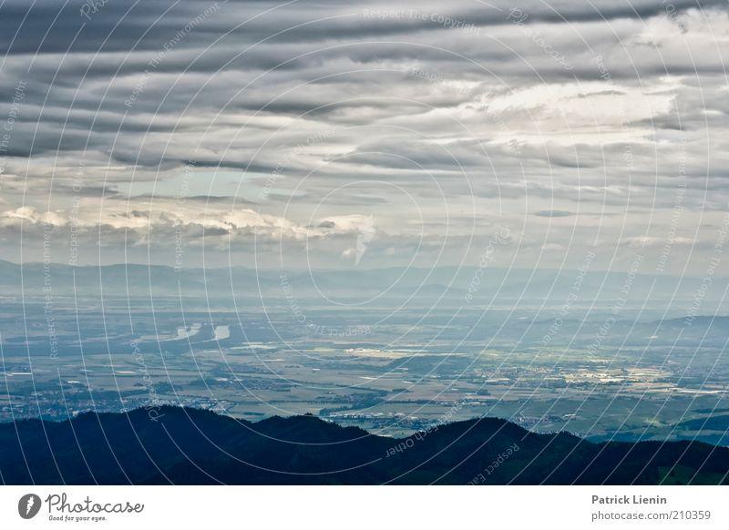 Blick über das Rheintal Umwelt Natur Landschaft Urelemente Luft Himmel Wolken Gewitterwolken Klima Wetter schlechtes Wetter Wind Hügel Berge u. Gebirge