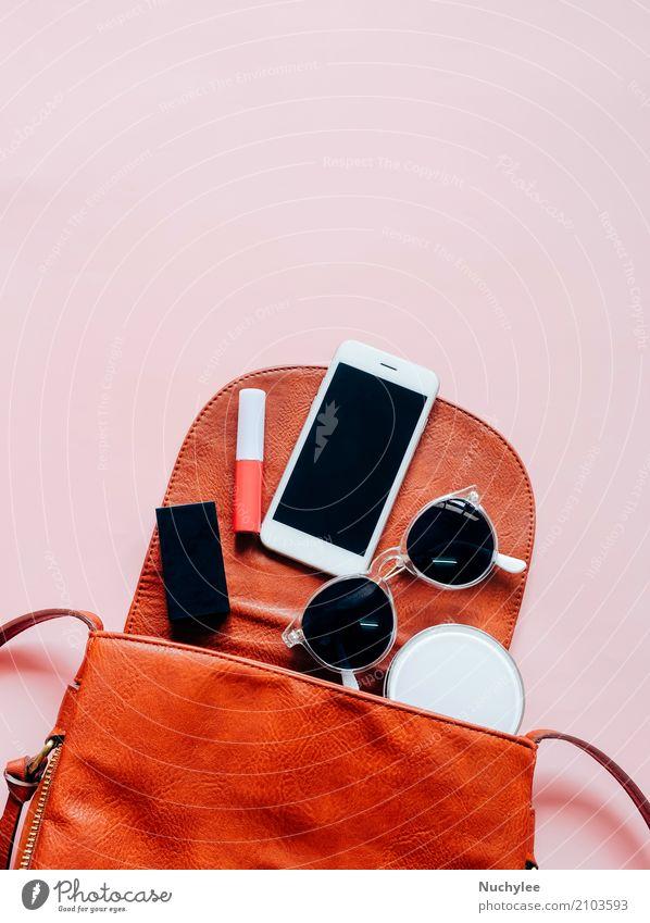 Flache Lage aus Leder Frauentasche elegant Stil Design schön Haut Schminke Lippenstift Ferien & Urlaub & Reisen Telefon PDA Technik & Technologie feminin