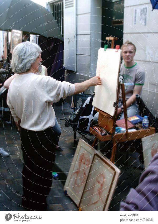 Kein Pixelkünstler Mann Ferien & Urlaub & Reisen Freude Leben Kunst Zeit Körperhaltung festhalten streichen Paris zeichnen frieren Frankreich Markt Künstler