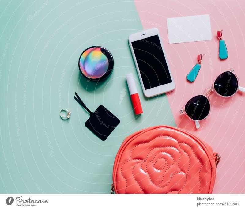 Flache Lage der Frauentasche Ferien & Urlaub & Reisen Farbe grün Erotik Erwachsene feminin Stil Mode rosa Design hell modern elegant Technik & Technologie