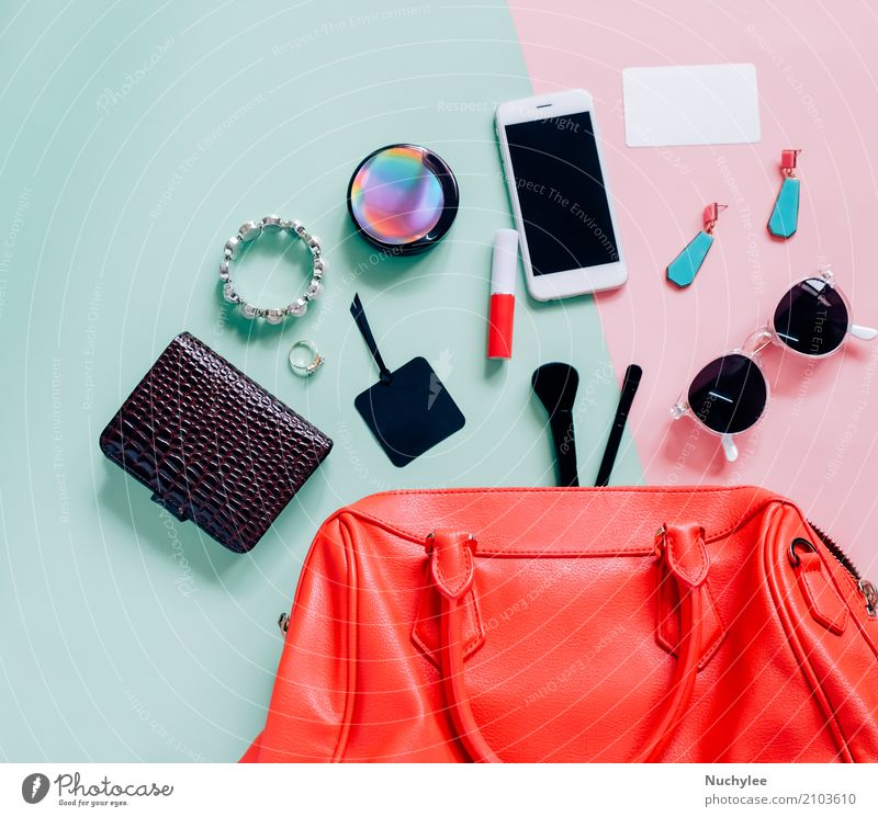 Flache Lage der Frauentasche Ferien & Urlaub & Reisen Farbe grün Erotik Erwachsene Lifestyle feminin Stil Mode rosa Design hell modern elegant
