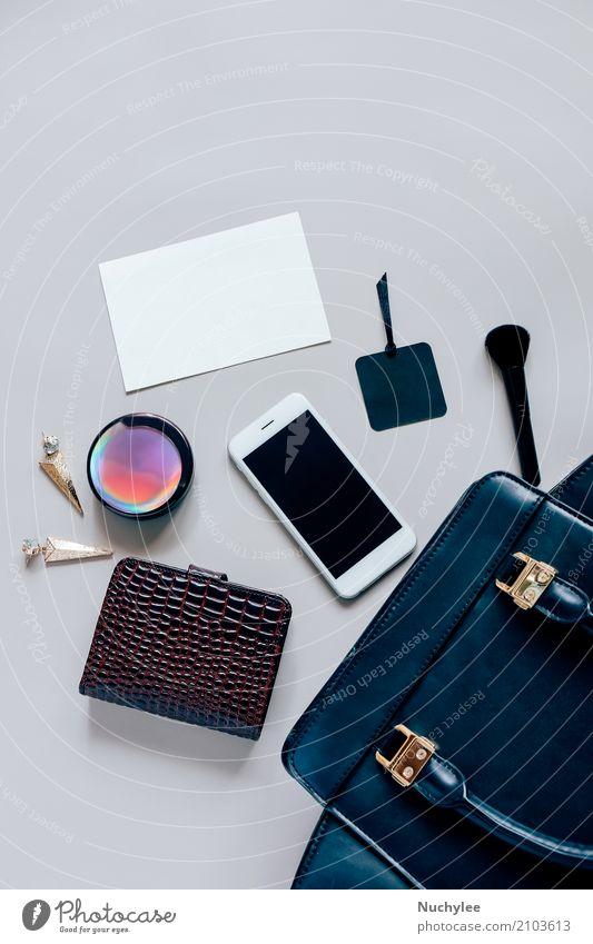 Flache Lage aus schwarzem Leder Frauentasche Ferien & Urlaub & Reisen Farbe schön Erwachsene feminin Stil Mode grau Design hell modern elegant
