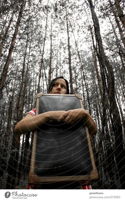 ÄÄÄHHH... HALLO? Frau Mensch Natur Jugendliche Himmel weiß Baum rot schwarz Einsamkeit Wald dunkel kalt feminin Holz grau