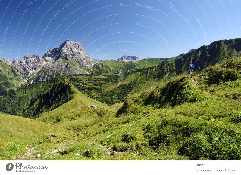 Alpe Derren 4 Natur grün Pflanze Sommer Ferien & Urlaub & Reisen Ferne Wiese Gras Berge u. Gebirge Landschaft wandern Umwelt Horizont Felsen Ausflug Tourismus