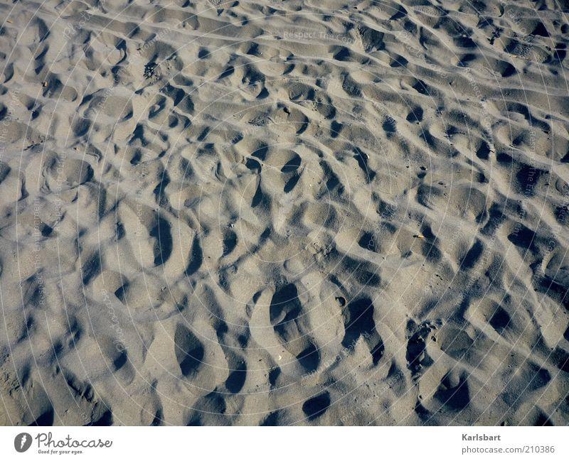 spuren. Natur Sommer Freude Strand Ferien & Urlaub & Reisen Einsamkeit Bewegung Sand Küste Linie Insel Perspektive Lifestyle trist einzigartig Wandel & Veränderung