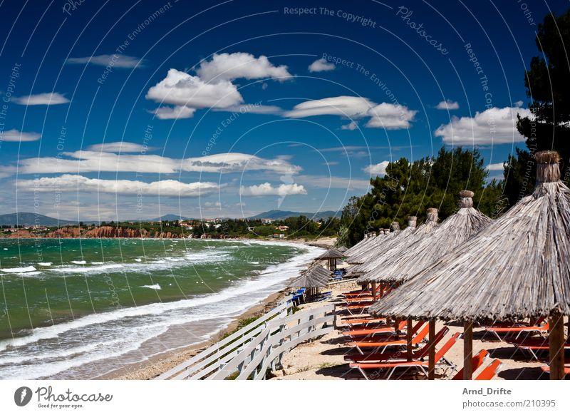 Urlaub Himmel Natur blau grün Baum Erholung Meer Wolken Strand Küste Wellen Wind Schönes Wetter Kitsch Zaun Sonnenschirm