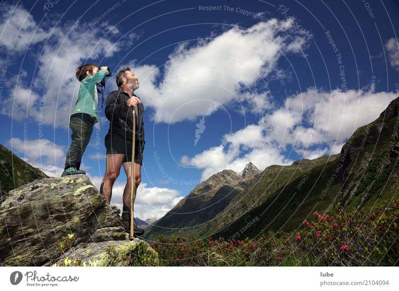 Blick nach oben 2 Mensch Umwelt Natur Landschaft Himmel Sommer Klima Schönes Wetter Hügel Felsen Alpen Berge u. Gebirge Gipfel beobachten Malfonalm Malfontal