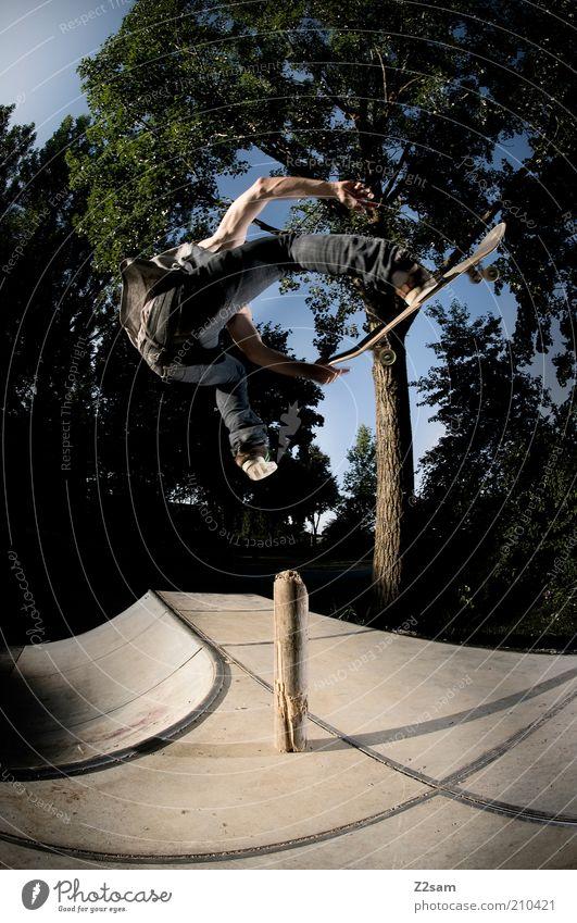 Benihana elegant Stil Skateboarding Mensch maskulin 18-30 Jahre Jugendliche Erwachsene Natur Landschaft Jeanshose fahren fliegen Sport springen ästhetisch