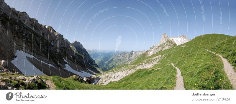 hoch erhoben Natur Wolkenloser Himmel Sommer Berge u. Gebirge Alpstein Alpen Berg Säntis Kurfirsten Fußweg Freiheit Tal Schneefeld Felsen Bergwiese Farbfoto