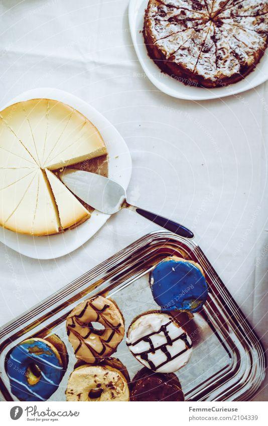 Love is in the air (18) Lebensmittel Ernährung genießen Backwaren Mehl Zucker süß Süßwaren Dessert Kuchen Torte Tortenheber Krapfen mehrfarbig Tischwäsche