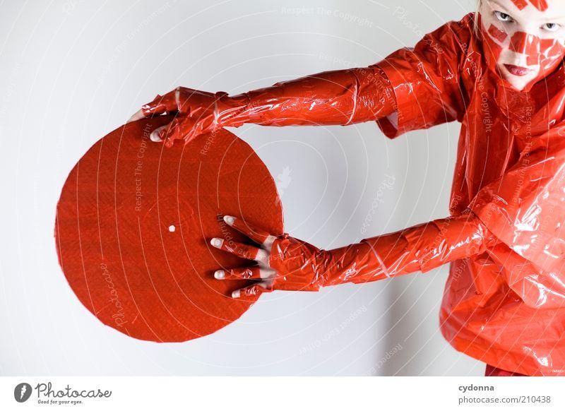 Platte Mensch Jugendliche rot Freude Leben Stil Musik Arme Design verrückt Lifestyle Kreis Coolness einzigartig geheimnisvoll außergewöhnlich