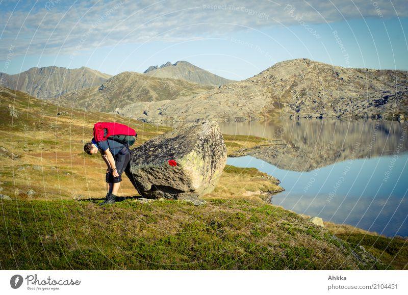 Rot-Rot Pause Natur Ferien & Urlaub & Reisen Jugendliche Junger Mann Landschaft rot Einsamkeit ruhig Ferne Berge u. Gebirge Wege & Pfade Felsen wandern