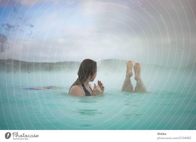 Abtauchen Wellness Leben harmonisch Wohlgefühl Sinnesorgane Erholung Spa Dampfbad Schwimmen & Baden Mensch Kopf Fuß 2 Nebel Wasser genießen Flüssigkeit