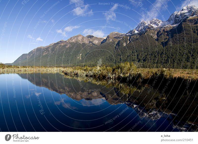 twins Landschaft Urelemente Wasser Wolken Sonne Herbst Pflanze Alpen Berge u. Gebirge Gipfel Schneebedeckte Gipfel Seeufer außergewöhnlich glänzend schön