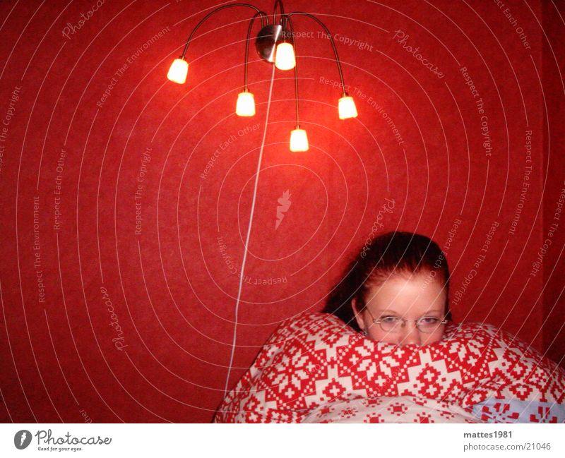 Der Winter kann kommen Frau Sonne Blume rot ruhig Lampe kalt Erholung Wärme Raum Beleuchtung Angst Trauer Energiewirtschaft Bett Decke