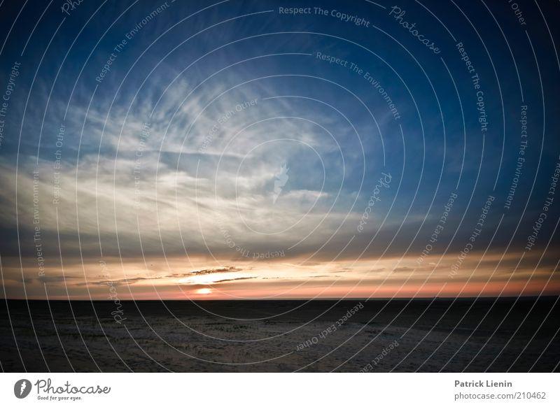 Schöne Tage Umwelt Natur Landschaft Urelemente Erde Sand Luft Wasser Himmel Wolken Nachthimmel Sommer Küste Strand Nordsee Meer Insel genießen Spiekeroog blau