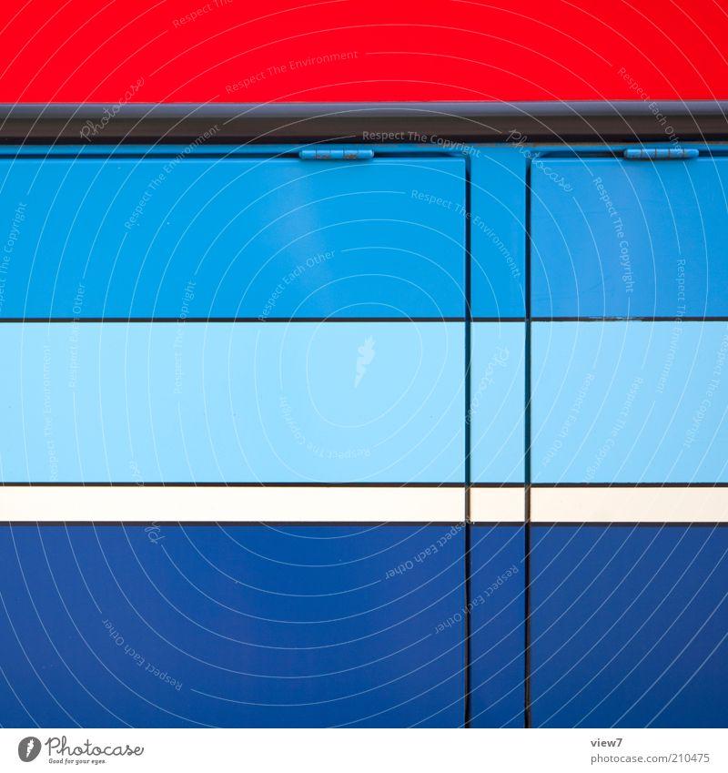 Reginalverkehr Fahrzeug Bus Reisebus Metall Linie Streifen ästhetisch authentisch einfach modern positiv blau rot Ordnung mehrfarbig Linienbus Scharnier