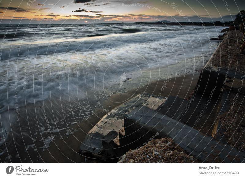 Wischiwaschi Himmel Sonne Meer Sommer Strand ruhig Wolken Erholung Glück Stein Küste Wellen Treppe Romantik Kitsch Abenddämmerung