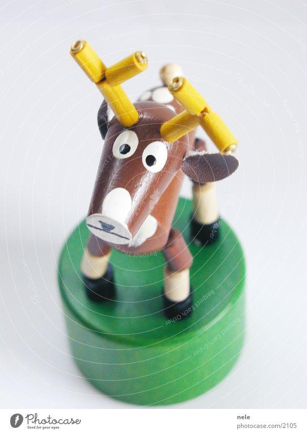 Hirsch Heinrich 01 grün Tier gelb Spielen oben Holz braun stehen Freizeit & Hobby Spielzeug Neugier Horn Hirsche Rentier