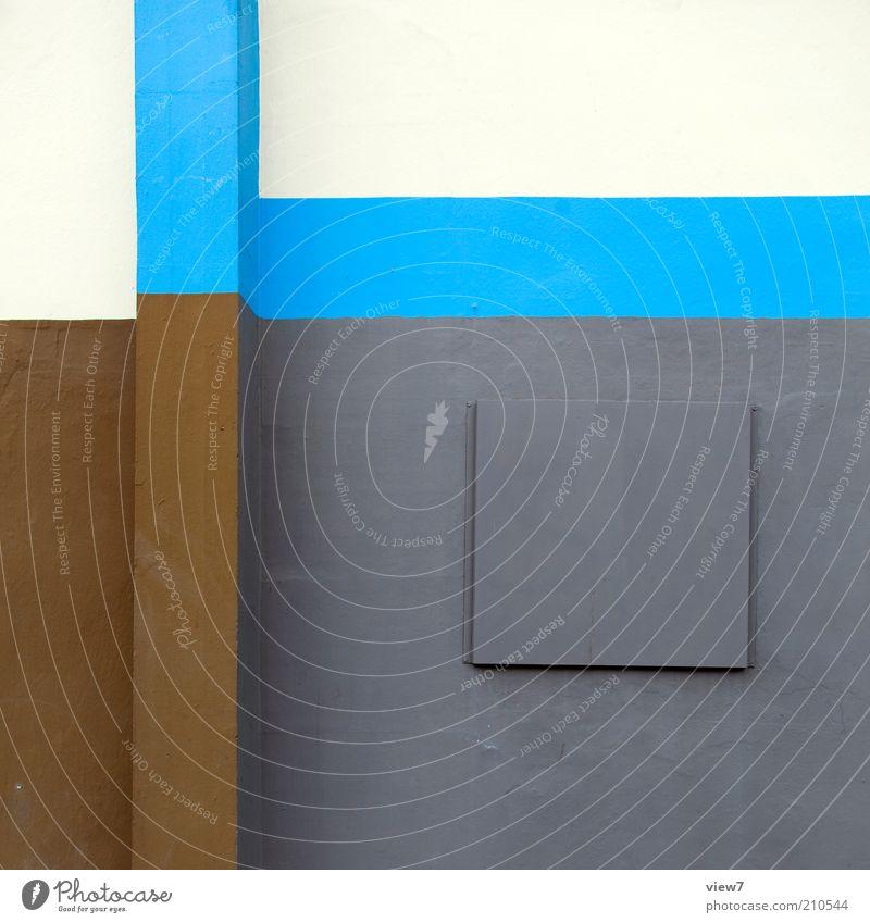 Gestaltung Mauer Wand Fassade Beton Zeichen Linie Streifen ästhetisch authentisch modern neu Originalität positiv schön blau mehrfarbig grau Stimmung Design